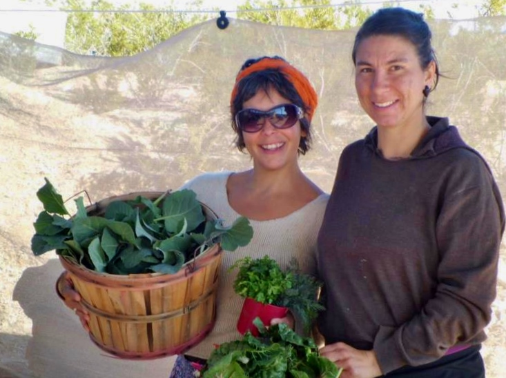 Shannon and Cass with garden harvest